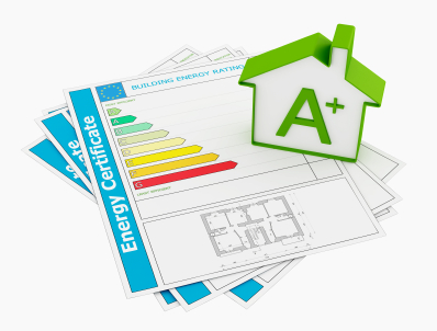 Energy certificate with house model isolated on white - rendering